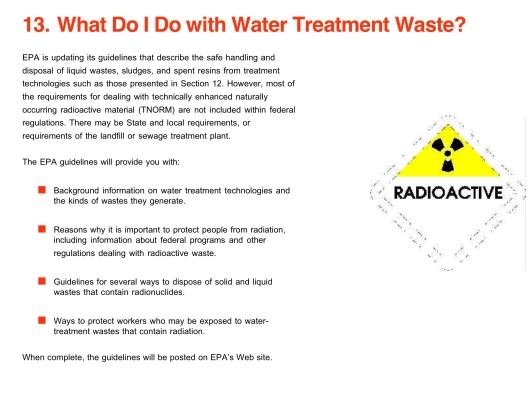 Radionuclides in Drinking Water: A Small Entity Compliance Guide., p. 21 Water Treatment Waste