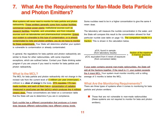 Radionuclides in Drinking Water: A Small Entity Compliance Guide Requirements for Beta-Photon