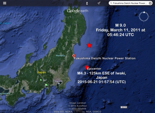 Japan 21 June 2015 earthquake vs. 11 March 2011 location