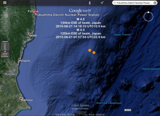 Earthquakes offshore near Fukushima 21 June 2015 - M 4.3 and 4.5