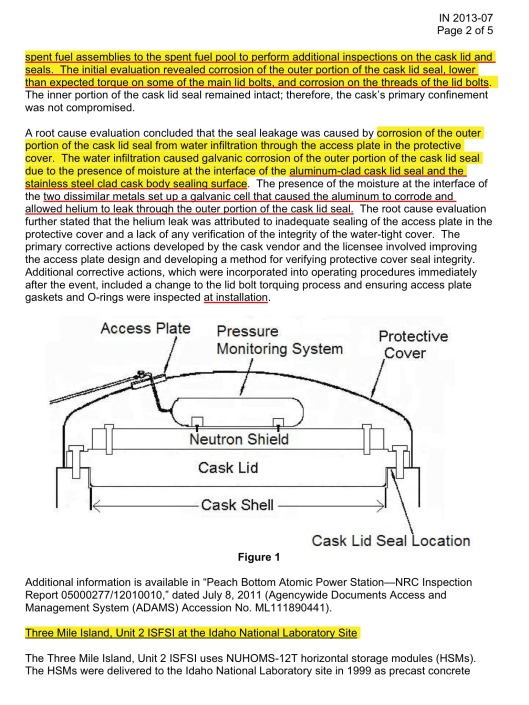 PREMATURE DEGRADATION OF SPENT FUEL STORAGE CASK STRUCTURES AND COMPONENTS FROM ENVIRONMENTAL MOISTURE, p. 2