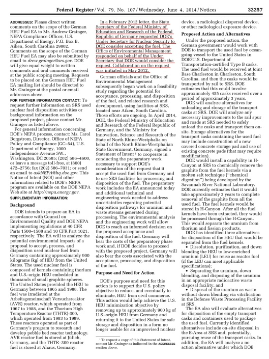 Federal Register / Vol. 79, No. 107 / Wednesday, June 4, 2014 / Notices p. 32257