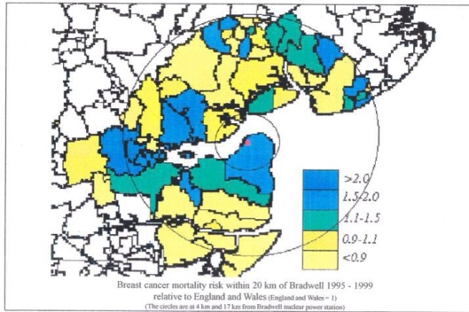 Figure 1. Study area showing location of Bradwell nuclear power station (red), surrounding 1991 census wards employed in the study and SMR levels in each ward for the period 1995-1999. Concentric circles are drawn at 4km and 17km illustrating the problem of the concentric areas approach. Busby Bradwell NPS Essex