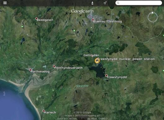 Trawsfynydd Nuclear Power Station in Wales, reservoir, estuary