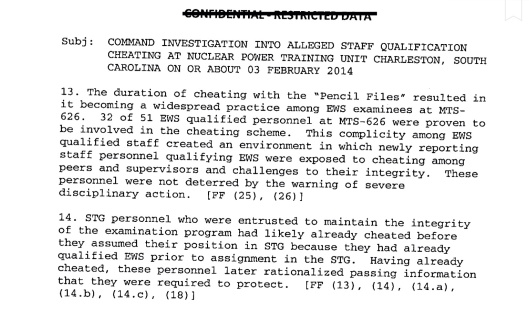 Naval Reactor Cheating investigation Feb. 2014  A