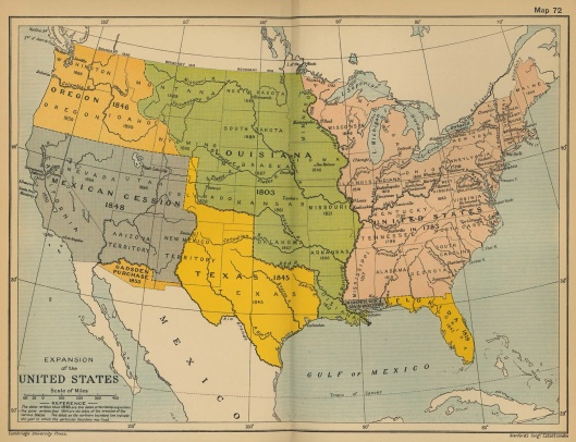 1912 map of westward movement of the US