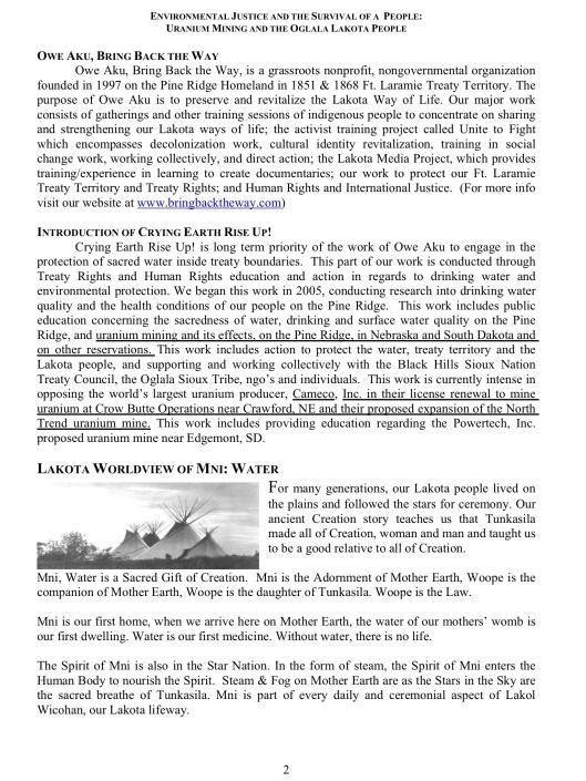 ENVIRONMENTAL JUSTICE & THE SURVIVAL OF A PEOPLE: URANIUM MINING &  THE OGLALA LAKOTA PEOPLE, p. 2