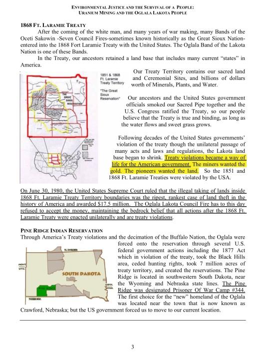ENVIRONMENTAL JUSTICE & THE SURVIVAL OF A PEOPLE: URANIUM MINING &  THE OGLALA LAKOTA PEOPLE , p. 3