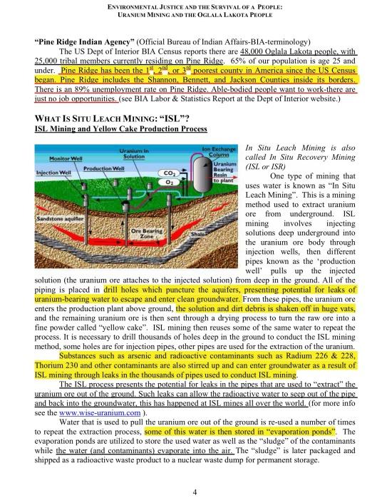 ENVIRONMENTAL JUSTICE & THE SURVIVAL OF A PEOPLE: URANIUM MINING &  THE OGLALA LAKOTA PEOPLE, p. 4