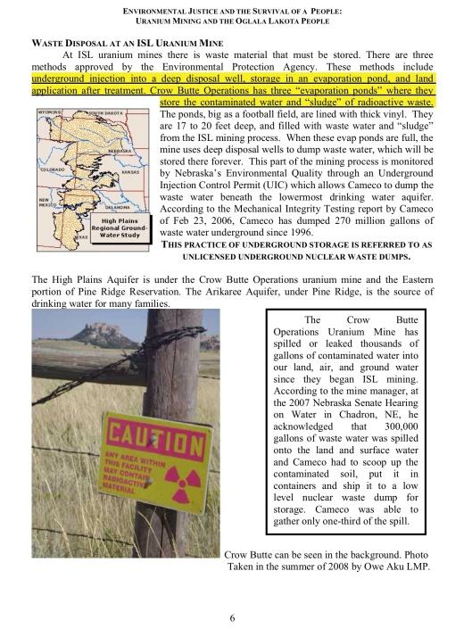 ENVIRONMENTAL JUSTICE & THE SURVIVAL OF A PEOPLE: URANIUM MINING &  THE OGLALA LAKOTA PEOPLE, p. 6