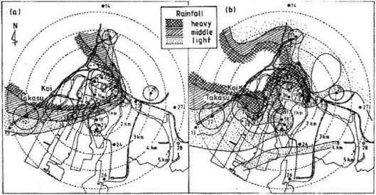 Figure 2. Comparison of the two rain areas. Uda's (left) and Masuda's (right), in relation with the 137Cs distribution in specimens collected by Dr. Nishina Yoshio et al. in Hiroshima City.