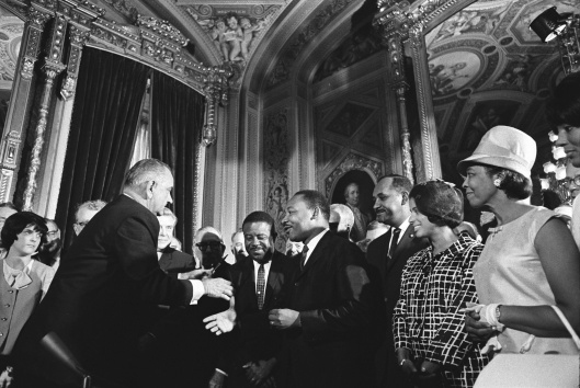 LBJ, ML King, Rosa Parks signing of the Voting Rights Act on August 6, 1965 By Yoichi Okamoto White House photographer for LBJ