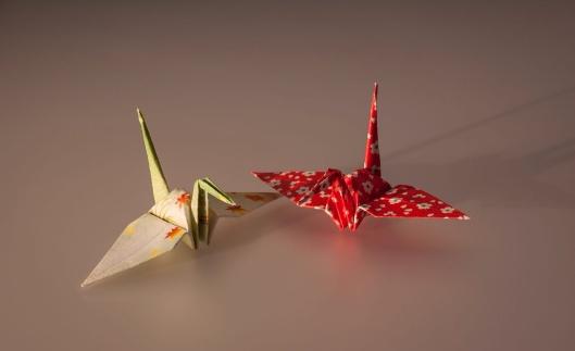 Origami Cranes, public domain via wikipedia