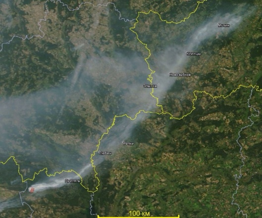 Plume of smoke from fire near Chernobyl at Terra MODIS (NASA) image of 10 August 2015 via Greenpeace Russia