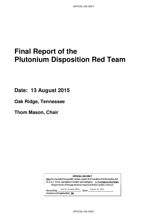 Final Report of the Plutonium Disposition Red Team       Thom Mason, Chair  Cover