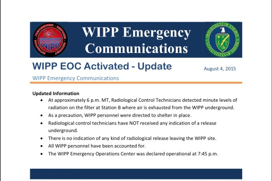 WIPP radiation leak?  August 4th