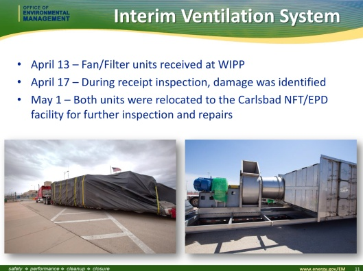 interim ventilation WIPP defective