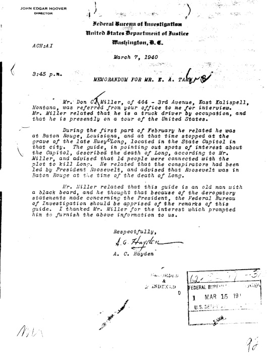 FBI File Huey Long FDR