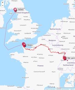 Nuclear Waste Transport Sellafield to Switzerland Sortir du nucleaire map
