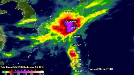 Typhoon Etau Japan rainfall totals