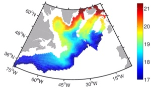 Figure of Iodine-129 in deep layers of the Atlantic Ocean: The map shows the simulated concentration of Iodine-129, Orr et. al. 2009 bjerknes.uib.no