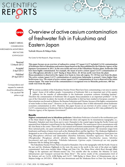 Overview of active cesium contamination of freshwater fish in Fukushima and Eastern Japan p. 1