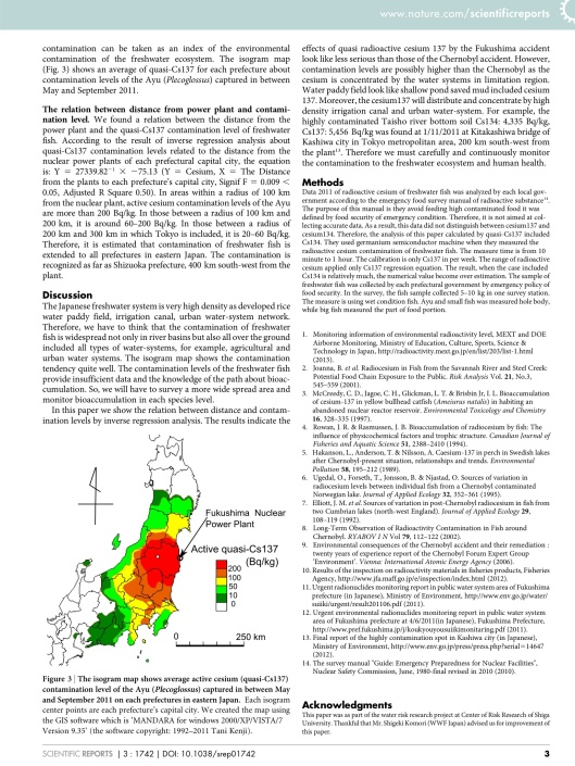 Overview of active cesium contamination of freshwater fish in Fukushima and Eastern Japan, p. 3