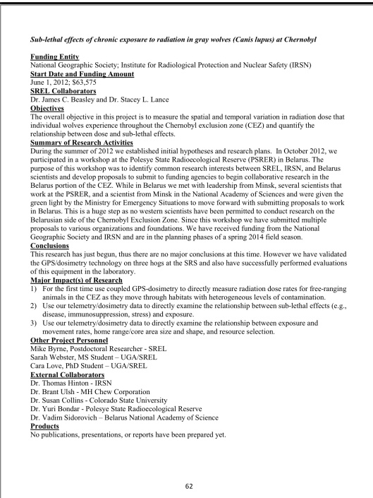 SAVANNAH RIVER ECOLOGY LABORATORY ANNUAL TECHNICAL PROGRESS REPORT OF ECOLOGICAL RESEARCH FOR FY2013, Final: Submitted: May 1, 2014 French Nuclear Funding Wolves Chernobyl IRSN