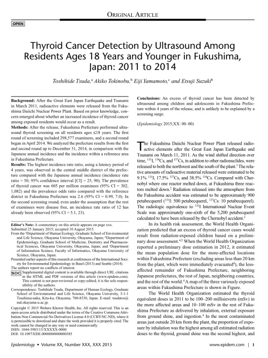 Thyroid Cancer Detection by Ultrasound Among Residents Ages 18 Years and Younger in Fukushima, Japan: 2011 to 2014. Tsuda, Toshihide; Tokinobu, Akiko; Yamamoto, Eiji; Suzuki, Etsuji p. 1