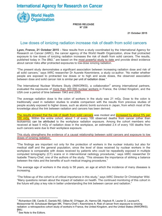 WHO-IARC Press Release on Low Dose Cancer Excess Oct. 21 2015 p. 1