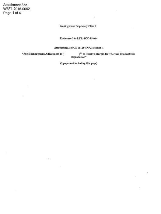 Attachment 3 to W3F1 -2015-0062 NON-PROPRIETARY - Fuel Thermal Conductivity Degradation Evaluation p. 1