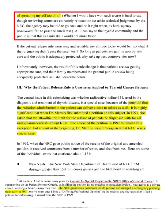 Re: Petition for Partial Revocation of the Patient Release Criteria Rule  September 2,2005, p. 9