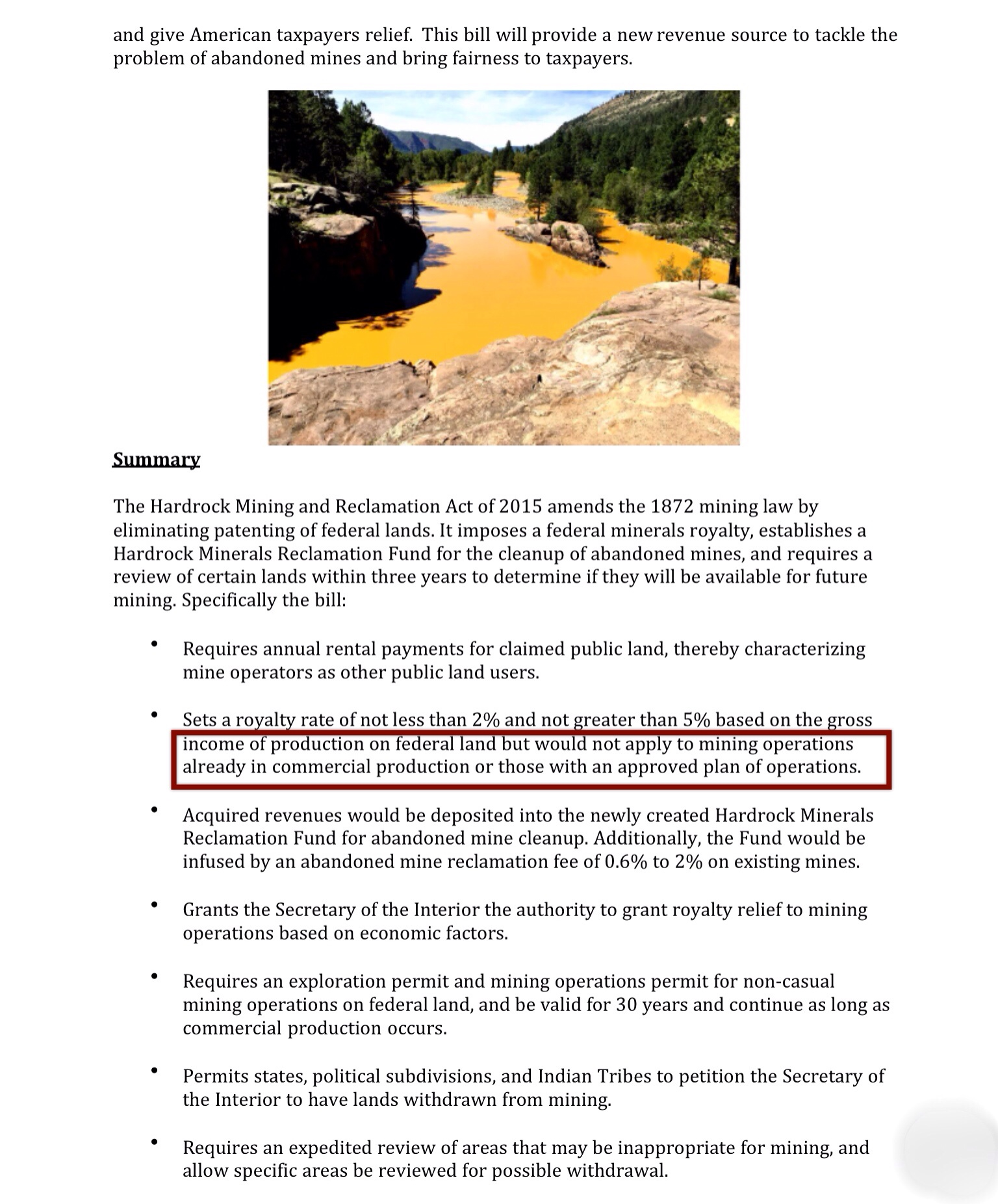 Ways to reform 1872 mining law summary