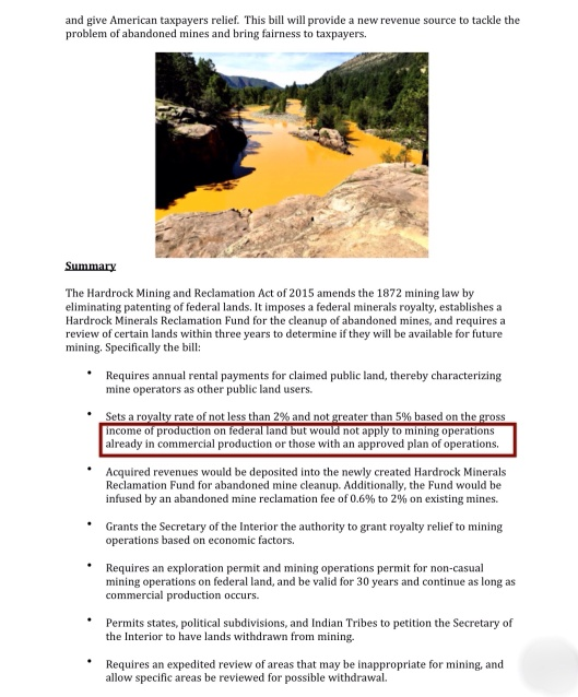 Hardrock Mining Reclamation Act Markey p. 2