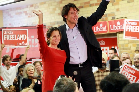 Minister of International Trade Chrystia Freeland with Prime Minister Justin Trudeau, October 3 2015, Corporate Video Productions Toronto. CC-Via Flickr.