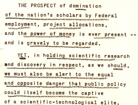 Eisenhower warning grant monies