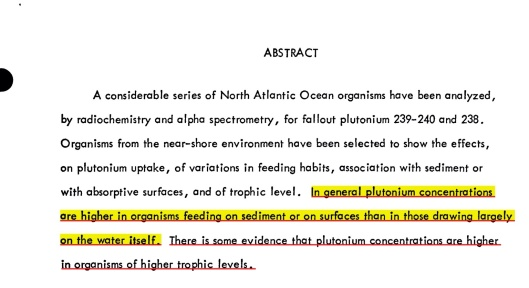 Plutonium in North Atlantic Ocean Organisms; Ecological Relationships by Victor E. Noshkin et. al. USDOE - WHOI Abstract, p. 1