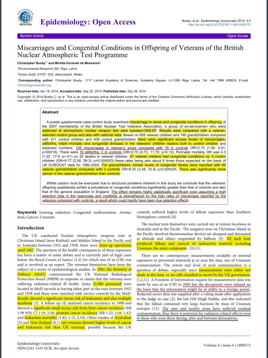 Busby C, de Messieres ME (2014) Miscarriages and Congenital Conditions in Offspring of Veterans of the British Nuclear Atmospheric Test Programme. Epidemiology (sunnyvale) 4: 172. doi:10.4172/2161-1165.1000172, p. 1