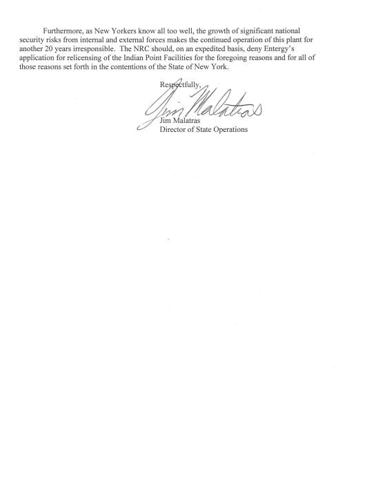 NY Gov Letter to NRC re Indian Pt Renewal