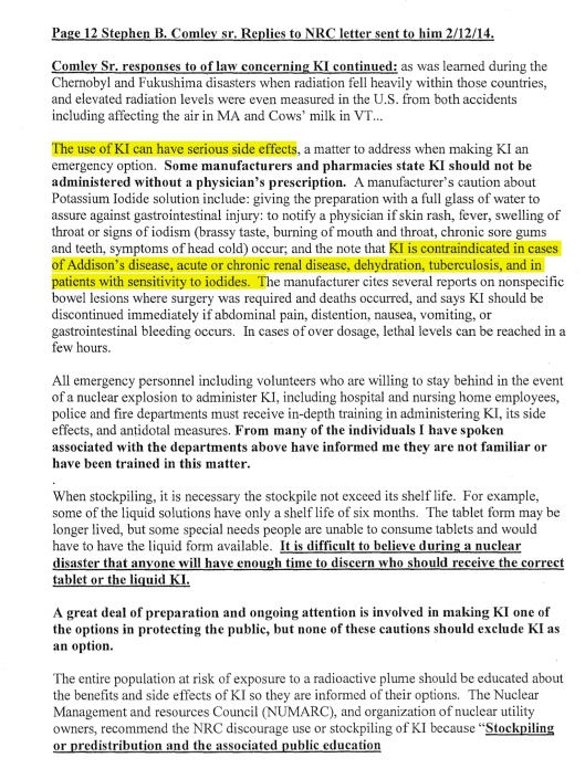 Stephen B. Comley Sr. Replies to NRC letter sent to him 2/12/14, p. 13