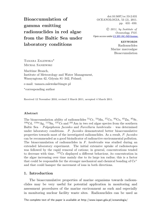 Bioaccumulation of gamma emitting radionuclides in red algae by Tamara Zalewska Michał Saniewski, p. 1