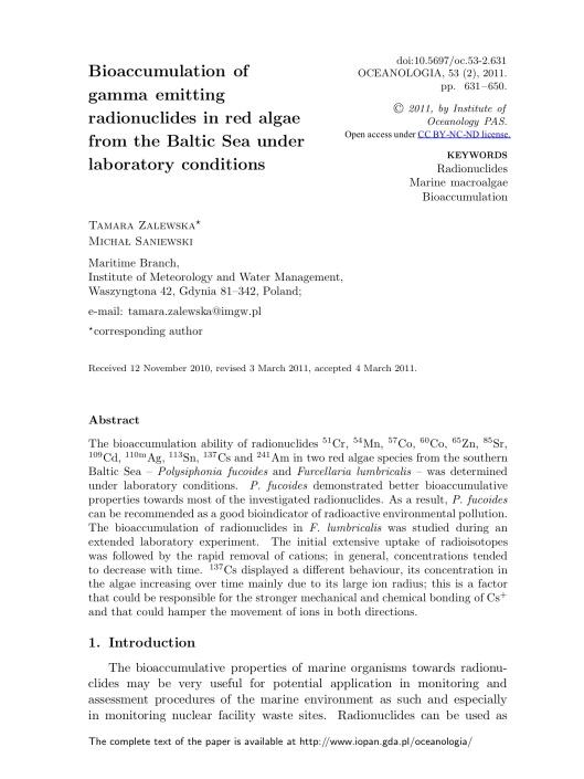Bioaccumulation of gamma emitting radionuclides in red algae by Tamara Zalewska Michał Saniewski, p. 1