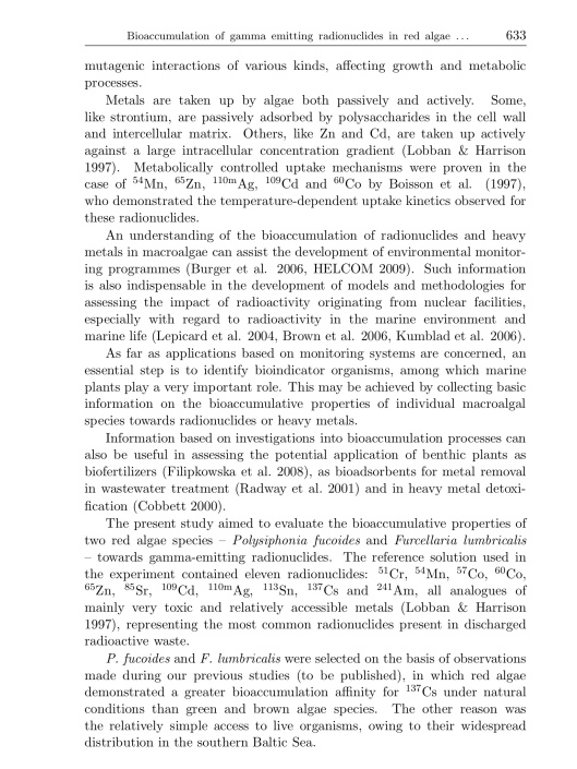 Bioaccumulation of gamma emitting radionuclides in red algae by Tamara Zalewska Michał Saniewski, p. 3