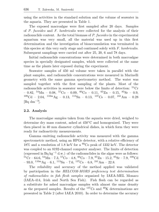 Bioaccumulation of gamma emitting radionuclides in red algae by Tamara Zalewska Michał Saniewski, p. 6