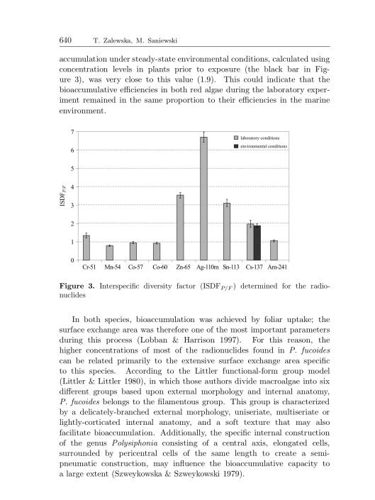 Bioaccumulation of gamma emitting radionuclides in red algae by Tamara Zalewska Michał Saniewski, p. 10