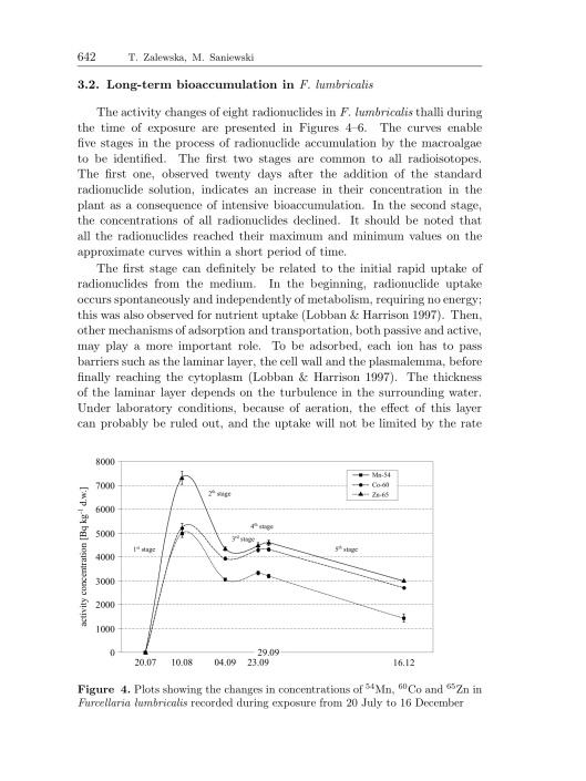 Bioaccumulation of gamma emitting radionuclides in red algae by Tamara Zalewska Michał Saniewski, p. 12
