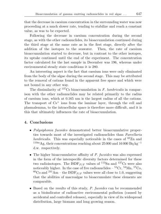 Bioaccumulation of gamma emitting radionuclides in red algae by Tamara Zalewska Michał Saniewski, p. 17
