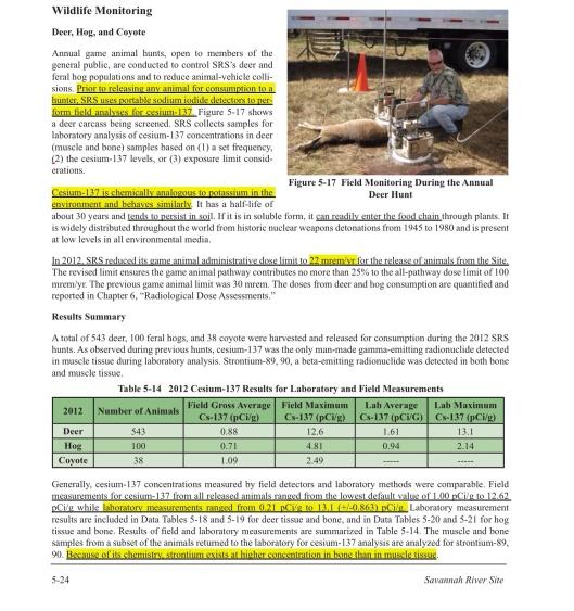 SRNS-STI-2013-00024, Savannah River Site, Environmental Report for 2012 Cesium in Deer p. 1