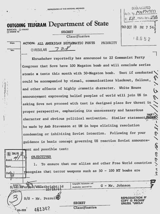 US State Dept notice re pending Tsar Bomba 18 Oct. 1961