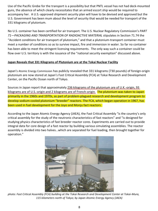 p. 8 SRS Watch DOE'S SOUTH CAROLINA PLUTONIUM DILEMMA:  PLUTONIUM KEEPS SECRETLY COMING IN BUT NO VIABLE PLAN TO TAKE IT OUT